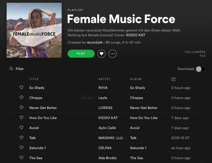 Female Music Force | recordJet