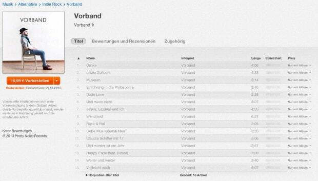 Vorband: Preorder auf iTunes