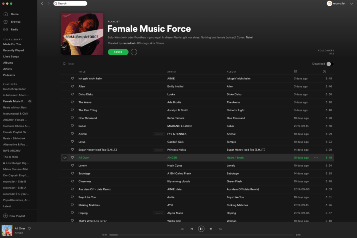 Spotify Female Music Force Playlist by recordJet