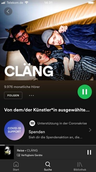 Spotify Profil von Cläng mit dem Artist Fundraising Pick